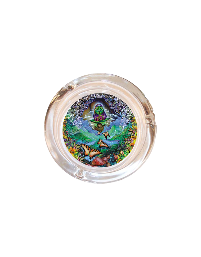 "4"" Diameter Musical Frog Glass Ashtray"