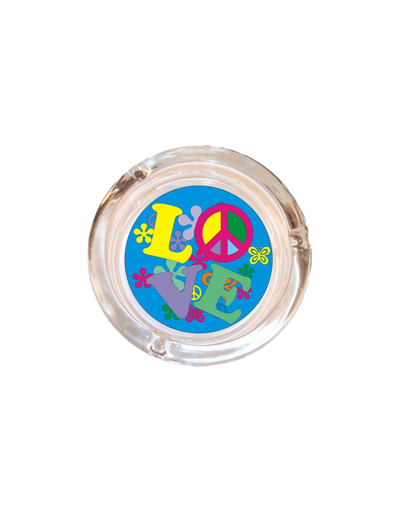 "4"" Diameter Love Glass Ashtray"