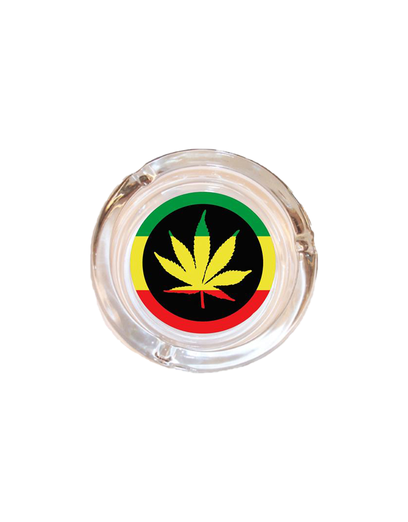 "4"" Diameter Rasta Leaf Glass Ashtray"