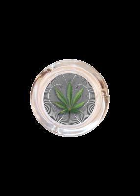 "4"" Diameter Optical Leaf Glass Ashtray"