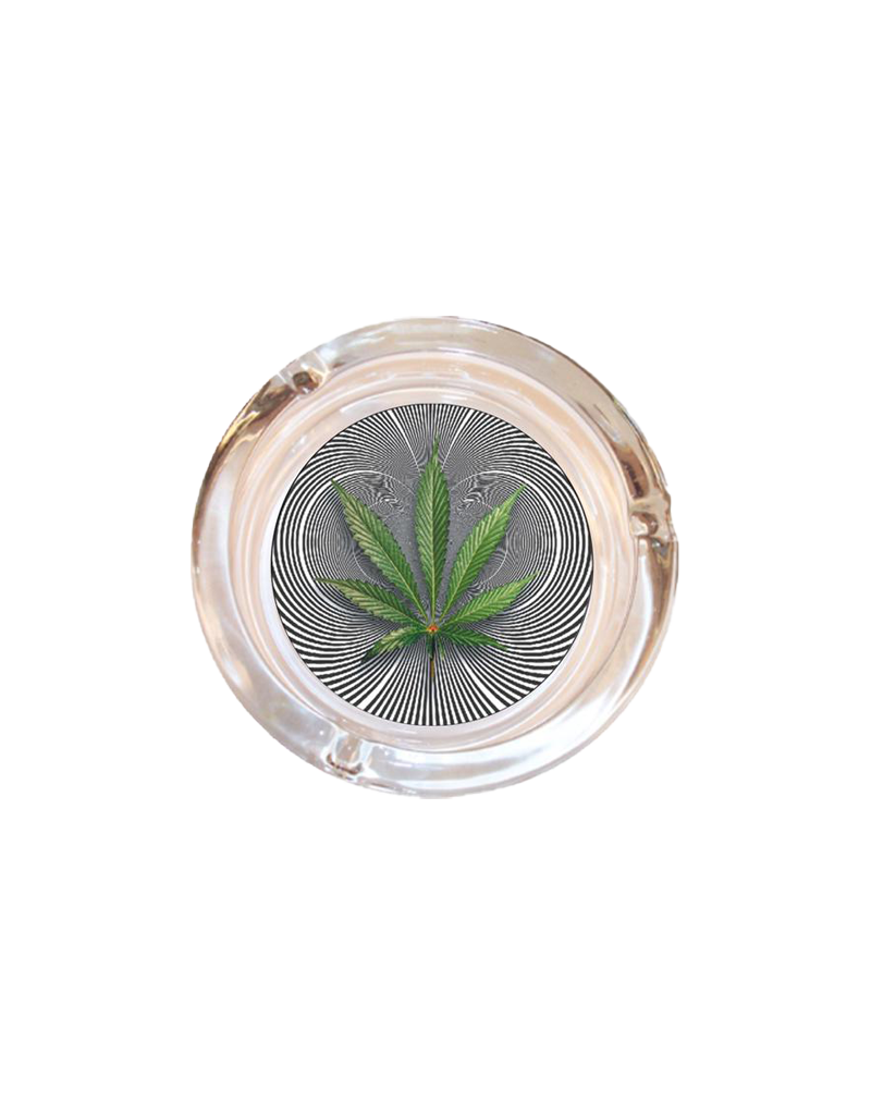 "4"" Diameter Optical Leaf Glass Ashtray"