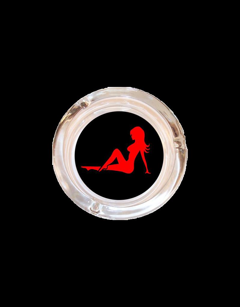 "4"" Diameter Trucker Babe Mud Flap Girl Glass Ashtray"