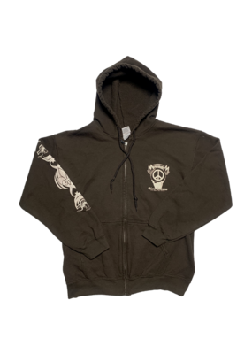 Mushroom Hand Of Peace Zip-Up Hoodie Brown
