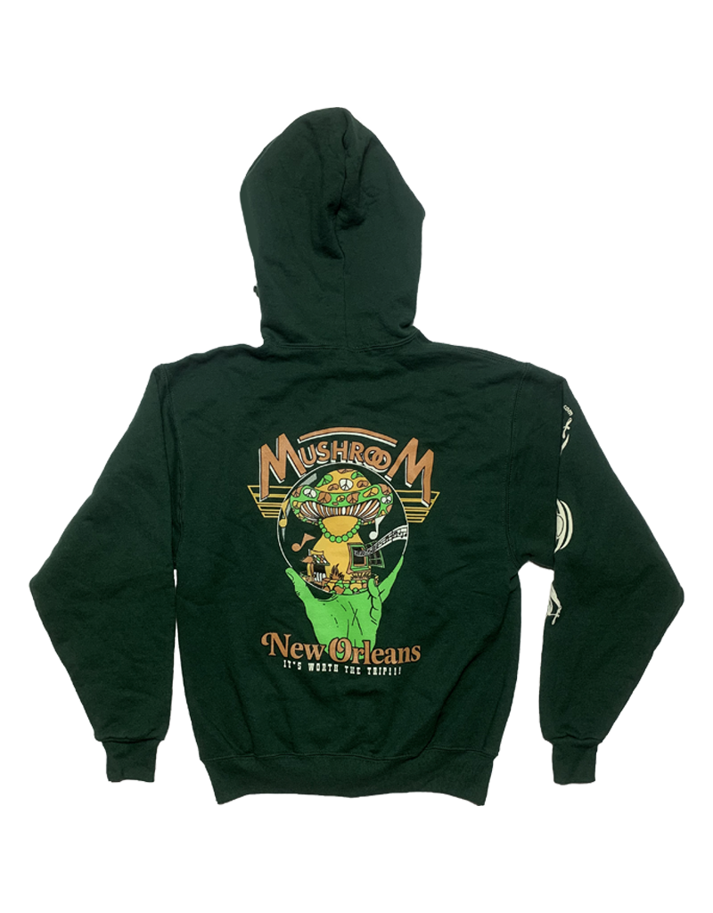 Mushroom Hand Of Peace Zip-Up Hoodie Forest Green