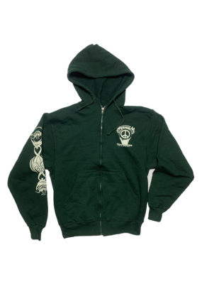 Mushroom Hand Of Peace Zip-Up Hoodie Forest Green