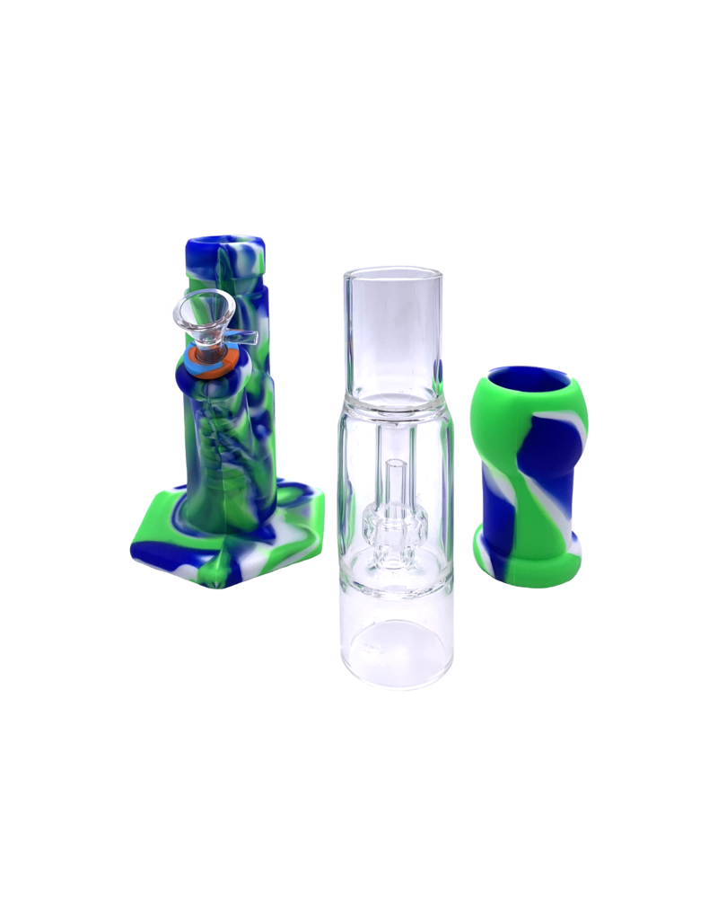 """12"""" Silicone Water Pipe With Removable Glass Showerhead Perc"""