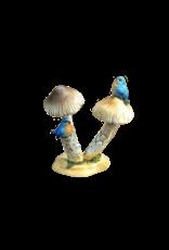 """Bluebirds on Mushroom Figurine 2.75""""H"""