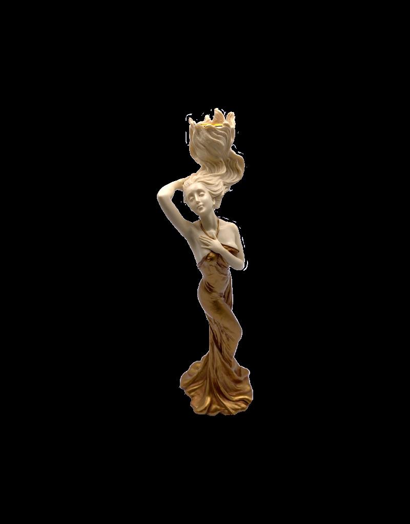 "Art Nouveau - Woman Touching Necklace Candle Holder 12""H"
