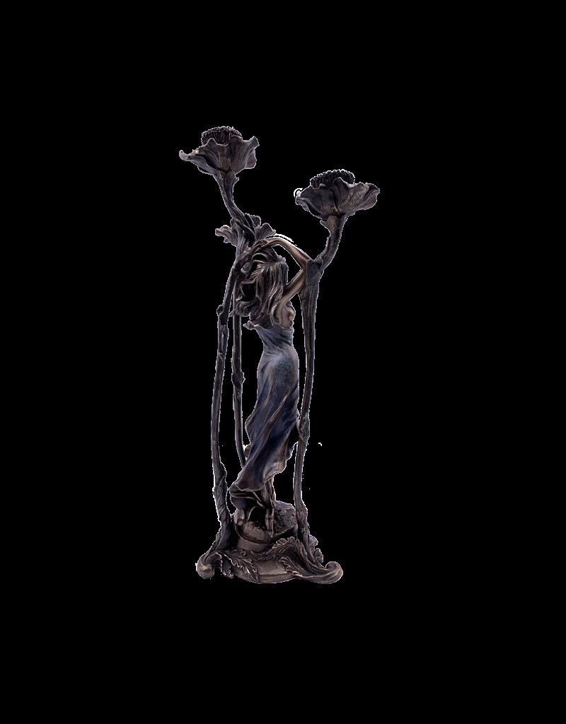 "Art Nouveau - Lady Candelabra Candle Holder 15.25""H"