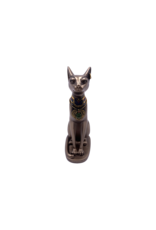 """Egyptian Bastet Sitting With Earrings Statue 5.5""""H"""