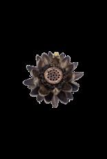 Bronze Lotus Flower with Frog Incense Holder