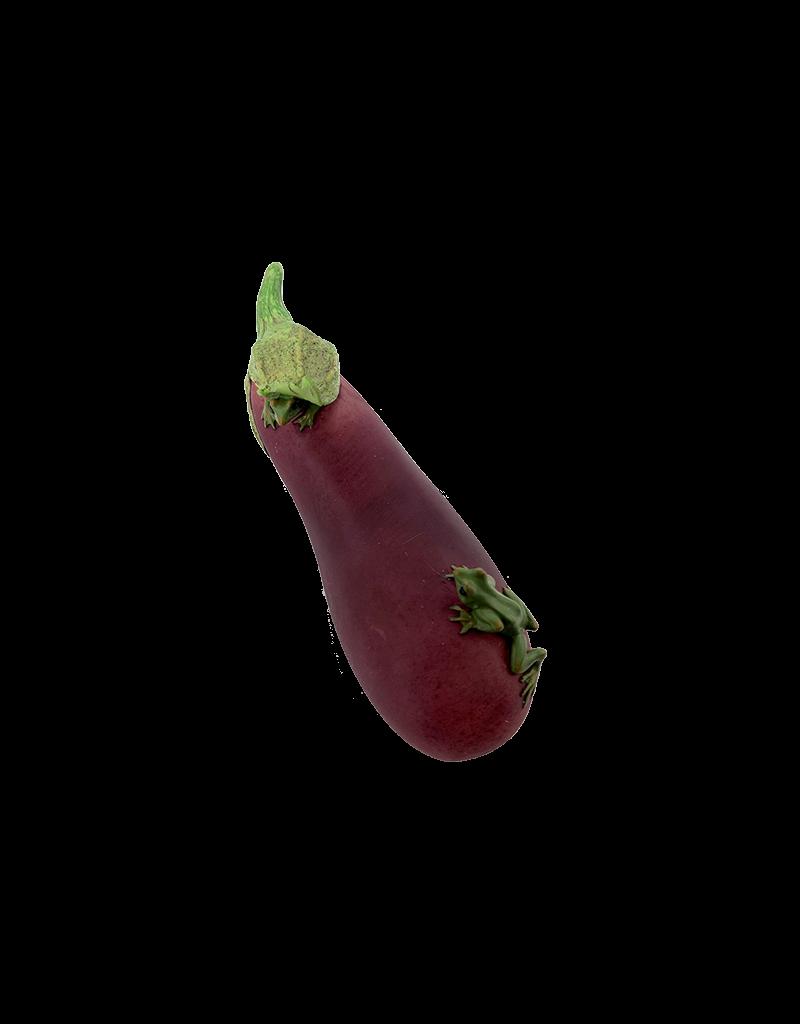 Frog on Eggplant Figurine