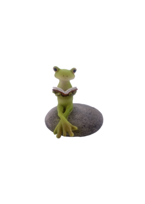 """Frog Reading on Stone Figurine 2.25""""H"""