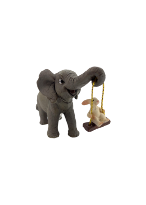 """Elephant and Bunny Playing 2.25""""H"""