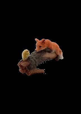 Playful Red Fox with Bird Figurine