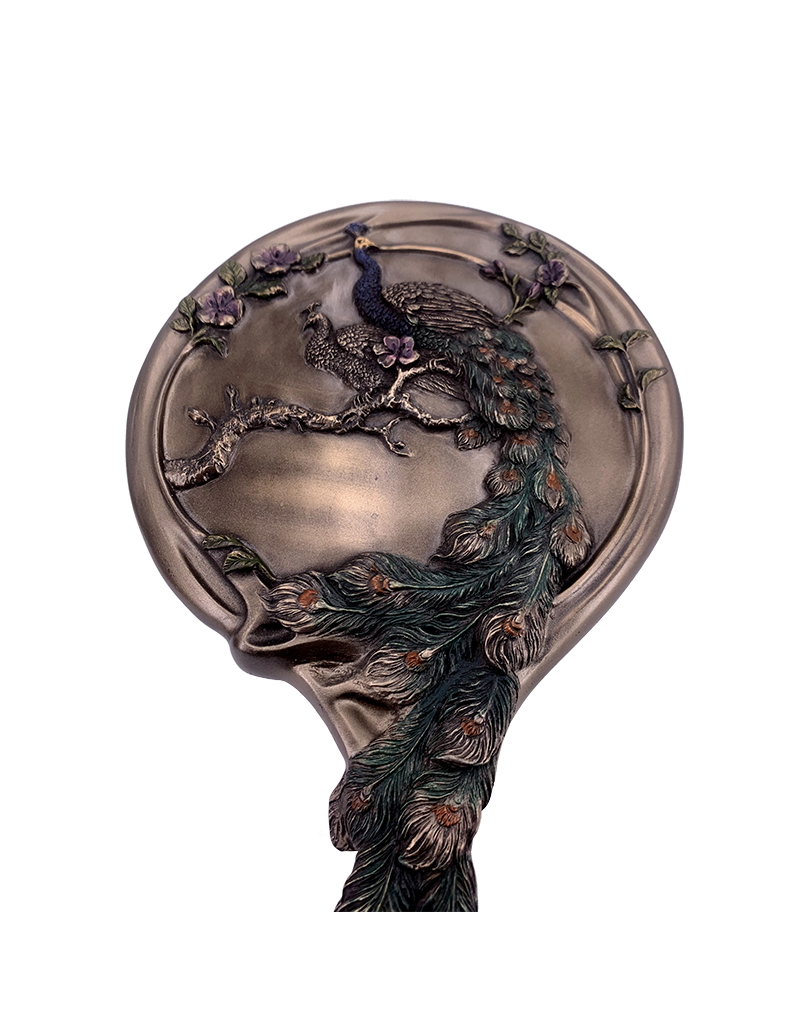 "Art Nouveau - Peacock Hand Mirror 10""H"