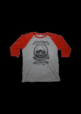 Mushroom Vintage Raglan Youth T-Shirt Grey and Red