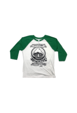 Mushroom Vintage Raglan Youth T-Shirt White and Kelly Green