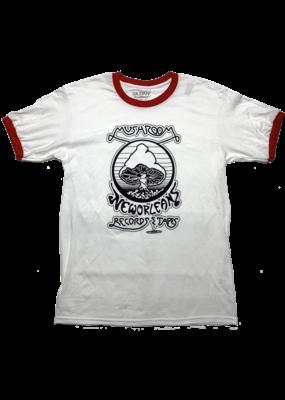 Mushroom Vintage Ringer T-Shirt White and Red