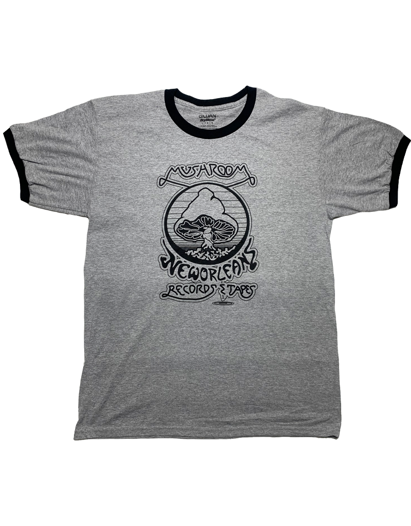 Mushroom Vintage Ringer T-Shirt Grey and Navy