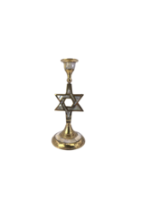 """Star of David Brass Candle Stand 7""""H"""