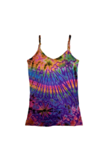 Tie Dye Lycra Tank Top Rainbow Purp