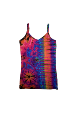 Tie Dye Lycra Tank Top Pink Rainbow