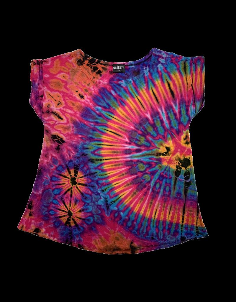 Tie Dye Lycra Top Pink Rainbow