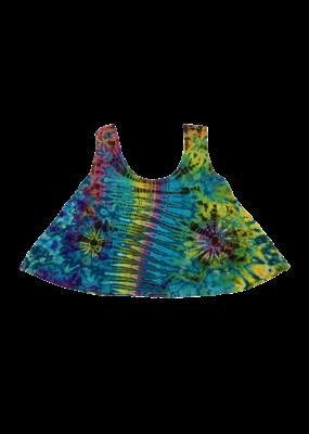 Tie Dye Lycra Dance Top Aqua Rainbow