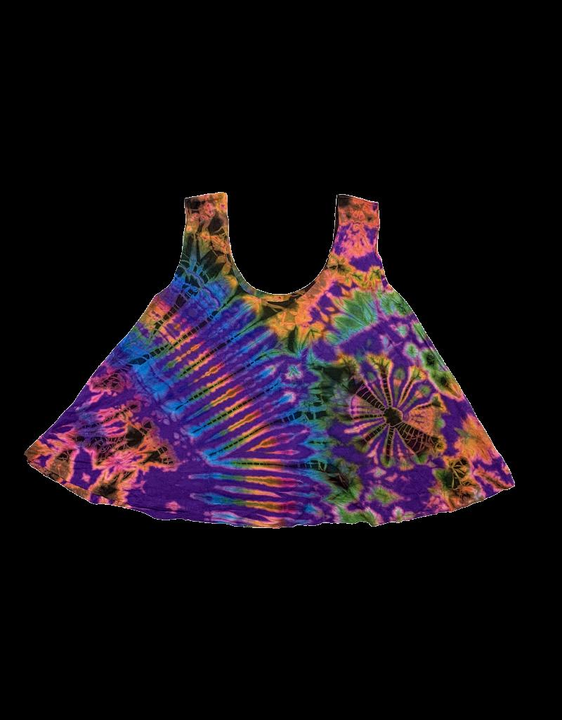 Tie Dye Lycra Dance Top Rainbow Purp