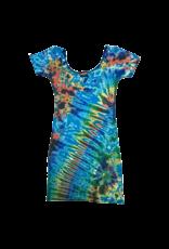 Tie Dye Lycra Club Dress Aqua Rainbow