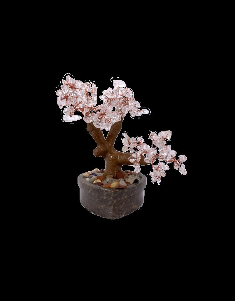"Clear Quartz Bonsai Tree On Heart Shaped Soapstone Base 5.5""H"