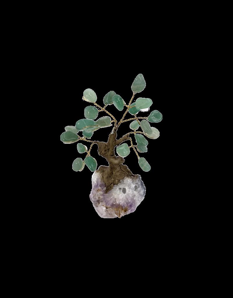 "Jade Garnet Tree on Crystal Cluster 5""H"