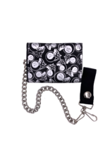 Girls and 8 Ball Leather Tri-Fold Chain Wallet Black
