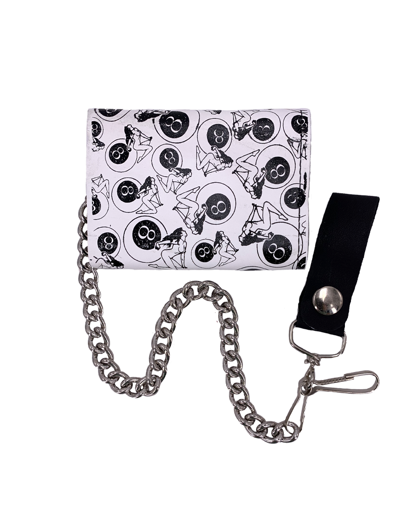 Girls and 8 Ball Leather Tri-Fold Chain Wallet White