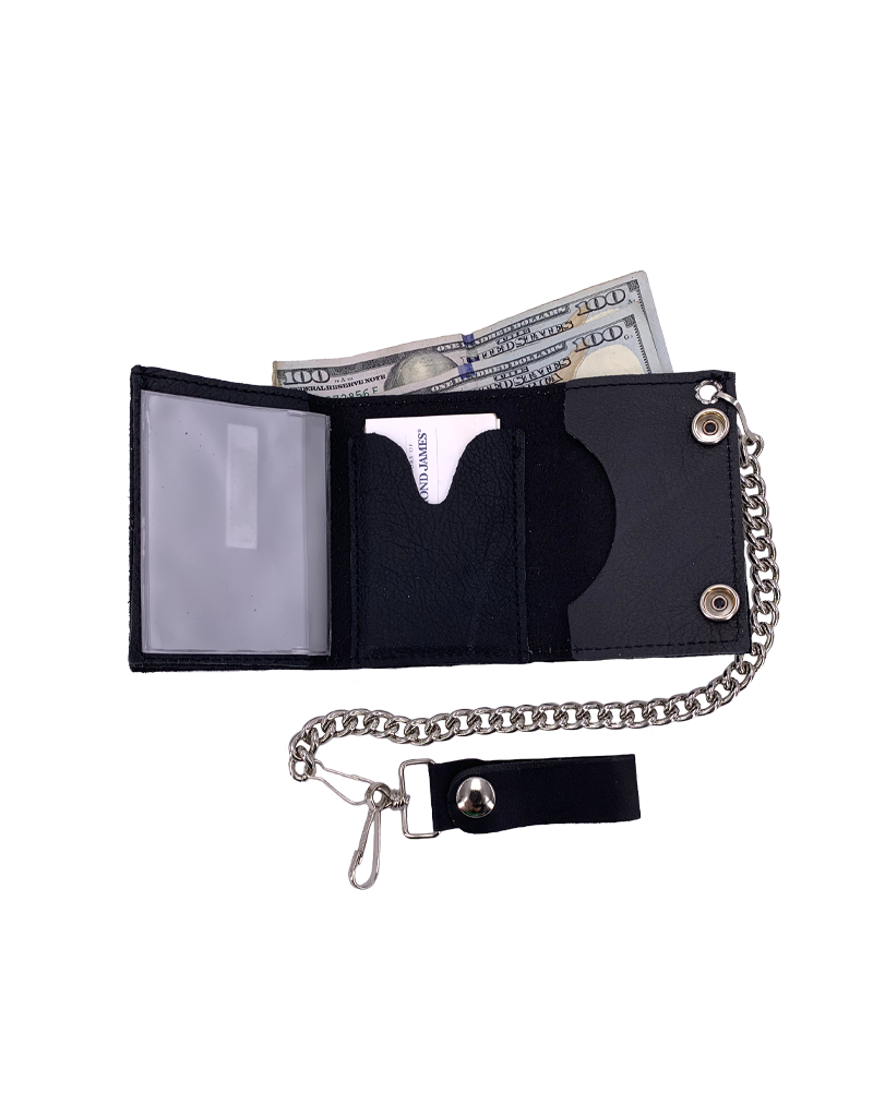 Bonehead Skull Leather Tri-Fold Chain Wallet