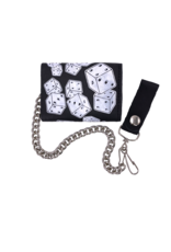 Dice Leather Tri-Fold Chain Wallet