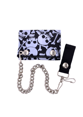 Multi-Skull and Crossbones Leather Tri-Fold Chain Wallet