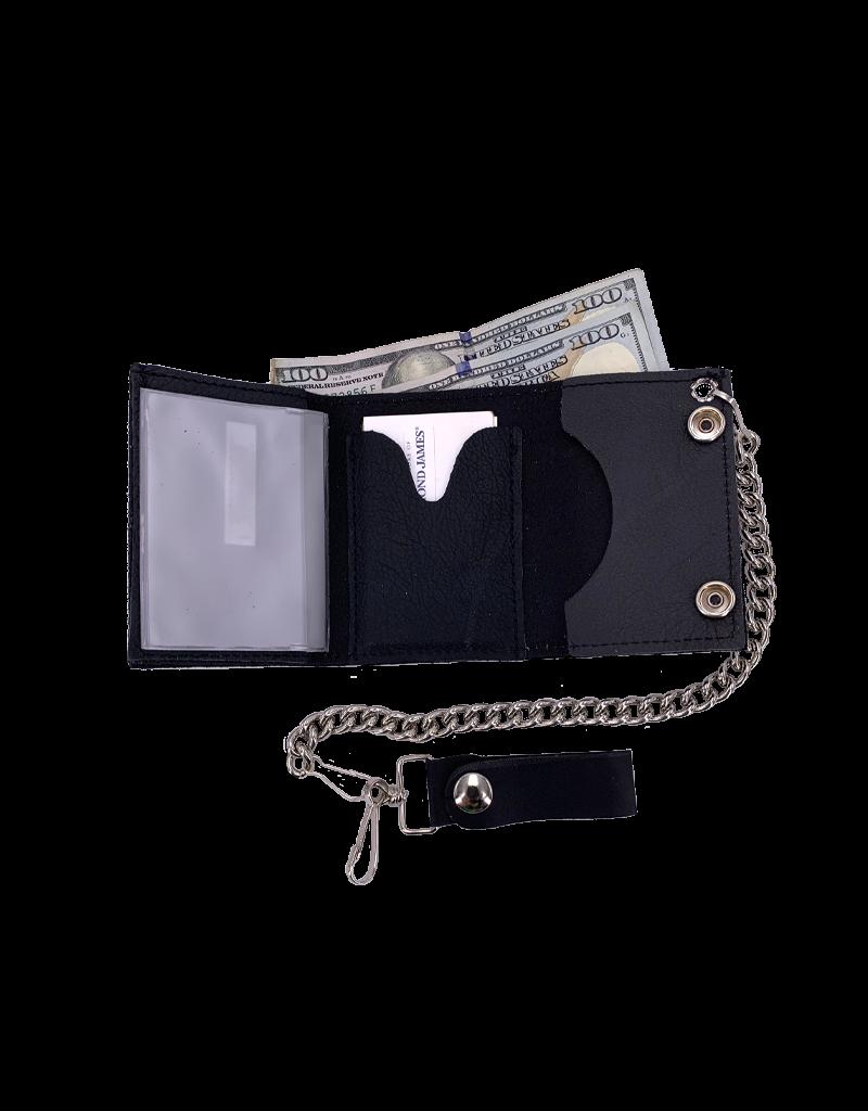 Multi-Trucker Girl Leather Tri-Fold Chain Wallet