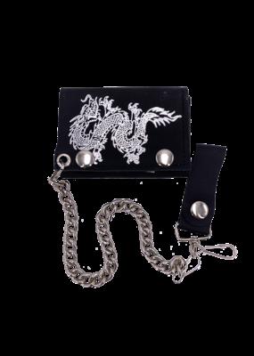 Oriental Dragon Leather Tri-Fold Chain Wallet