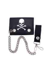 Skull and Crossbones Leather Tri-Fold Chain Wallet