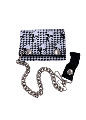 Skulls and Squiggles Leather Tri-Fold Chain Wallet