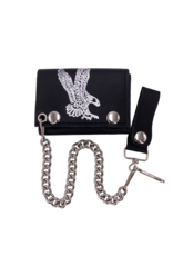 Swooping Eagle Leather Tri-Fold Chain Wallet