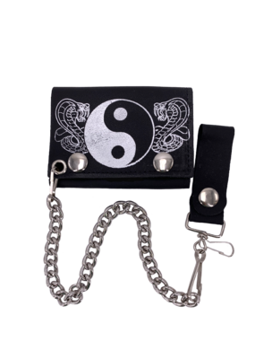 Yin Yang and Cobras Leather Tri-Fold Chain Wallet