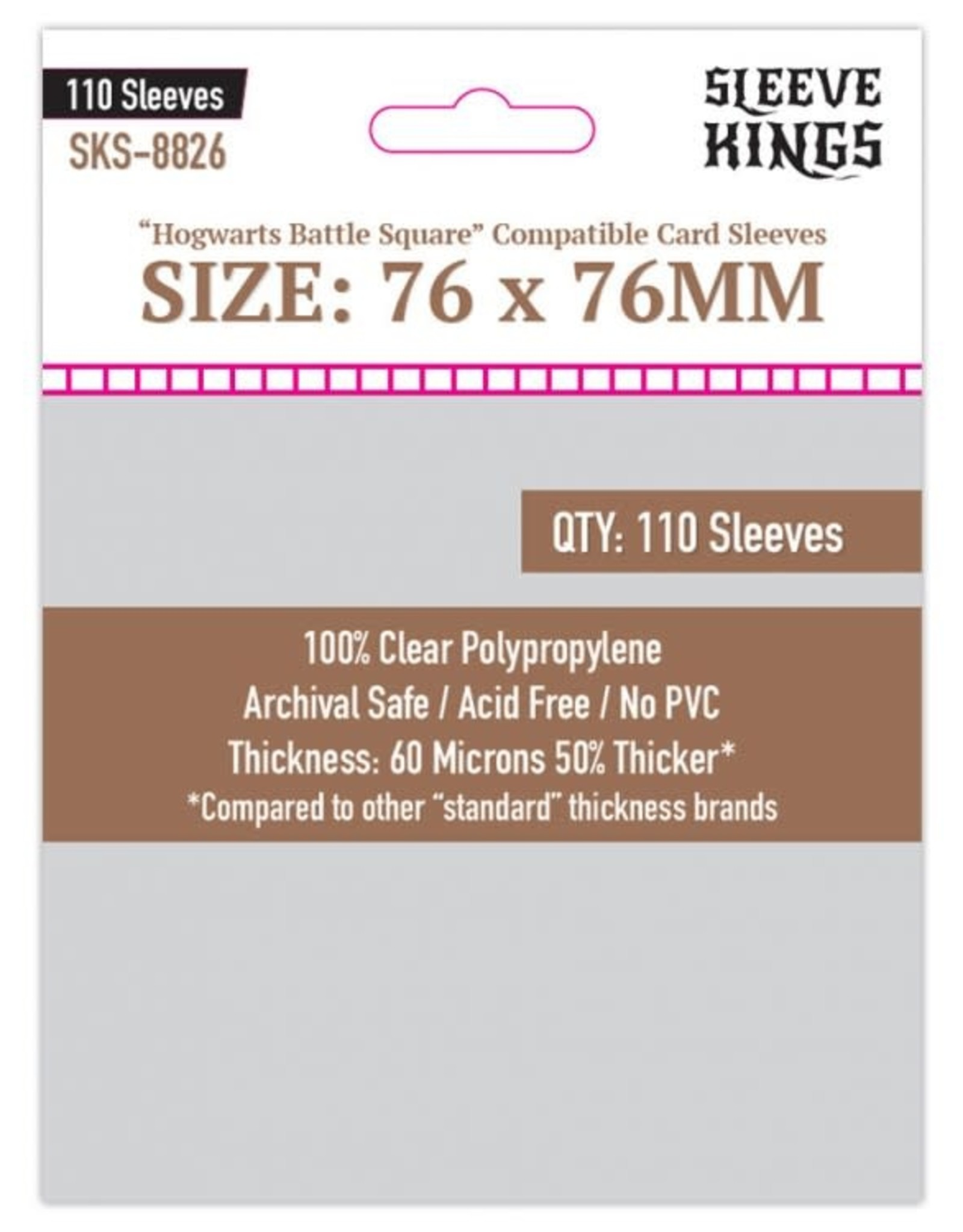 Sleeve Kings Sleeves: Hogwarts Battle Square Compatible Sleeves 60 Microns 76mm x 76mm (110)