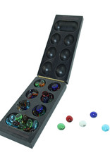 Folding Mancala Game  Solid Dark Stained Wood & Glass Stones
