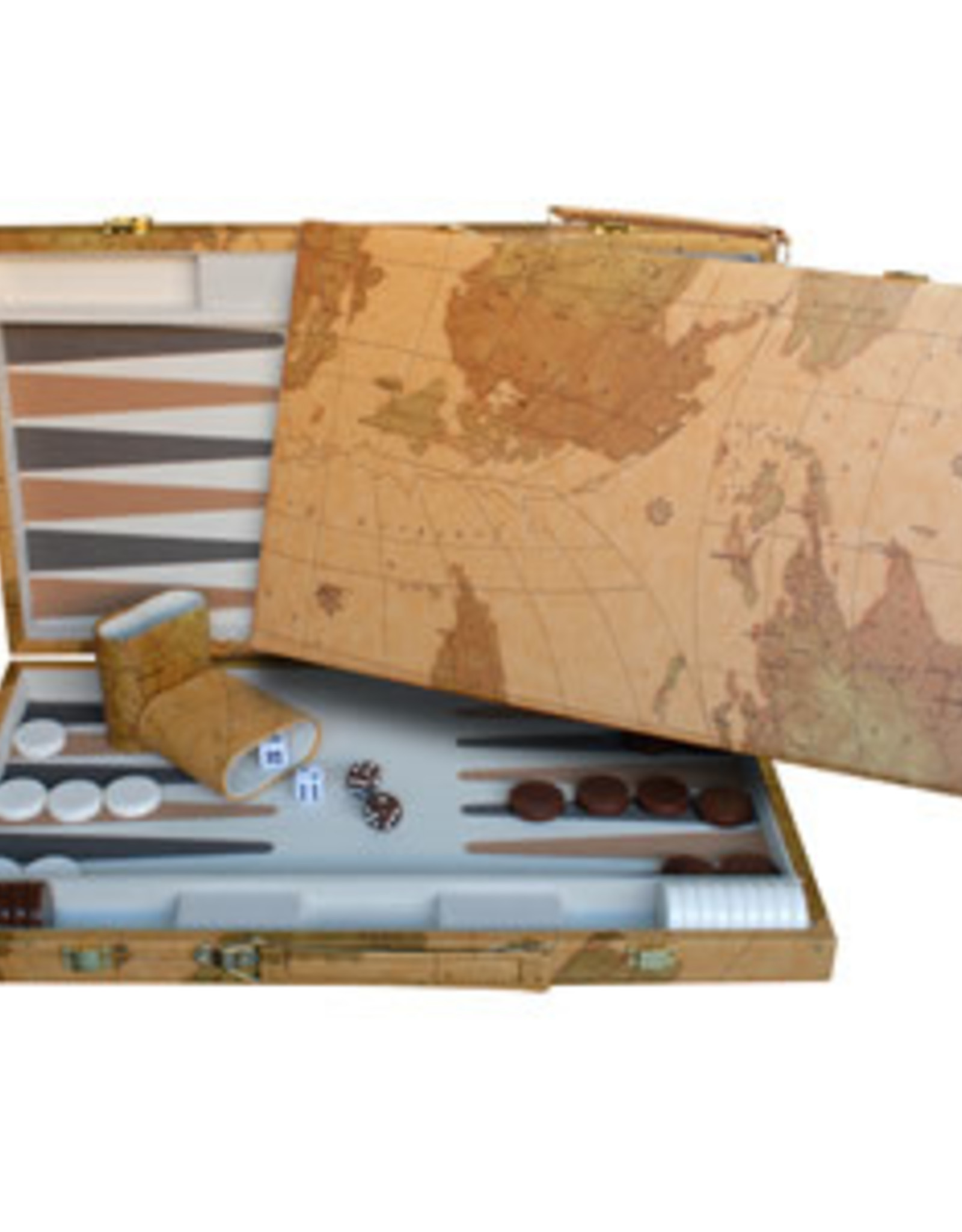 Backgammon Map Design Set 18 Inch with Screen Printed Points