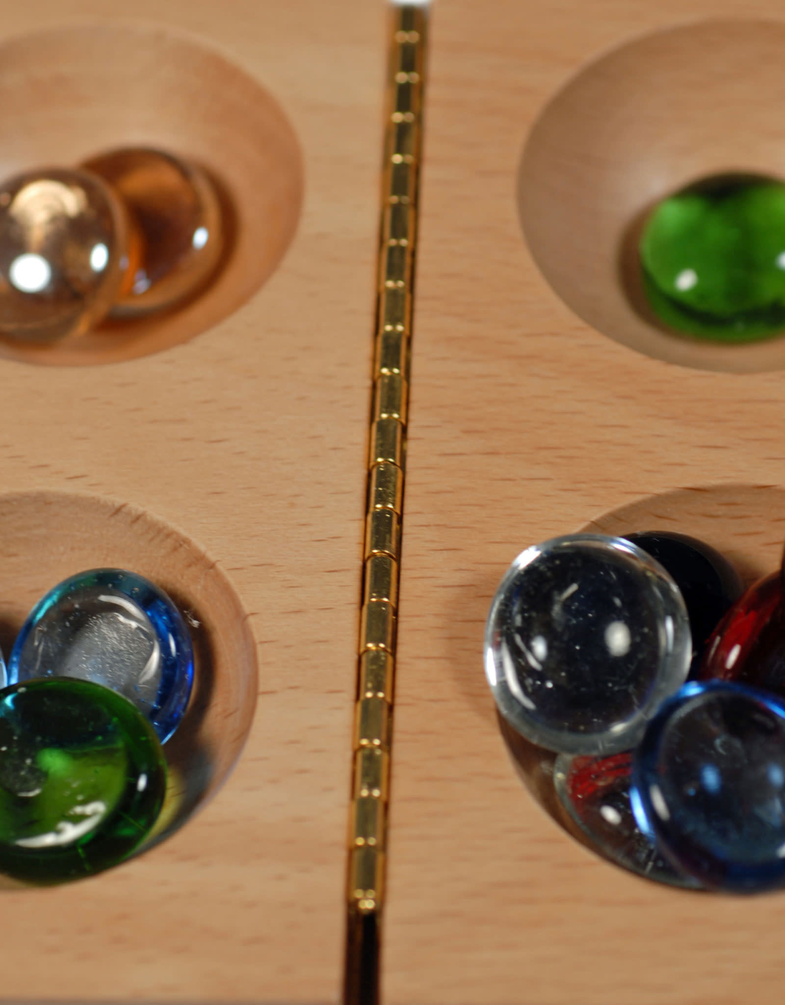 Mancala Solid Wood Folding Board & Glass Stones