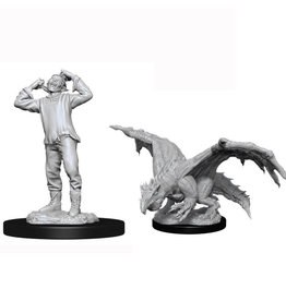 Wizkids D&D Nolzur's Unpainted Miniatures: Green Dragon Wyrmling & Afflicted Elf
