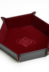 Sirius Dice Dice Tray: Hexagon, Folding - Burgundy, Brass Buttons